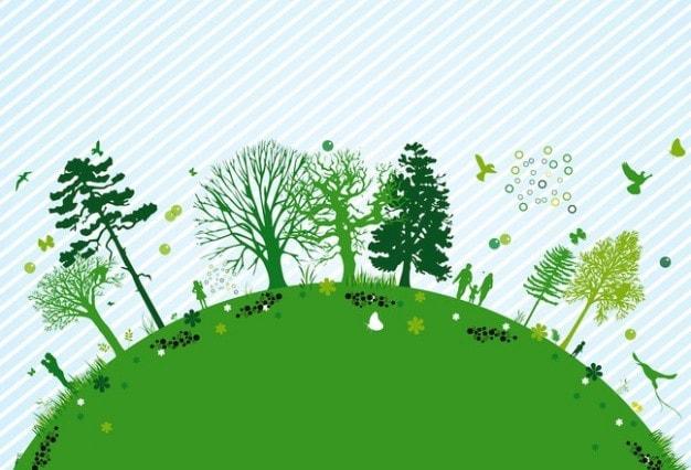 zielona kula ziemska z drzewami liściastymi i iglastymi